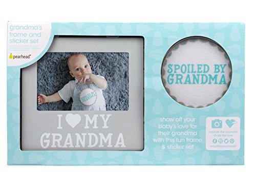 Pearhead I Love Grandma Keepsake Photo Frame and Baby Belly Sticker Gift Set, Gray by Pearhead (Image #6)