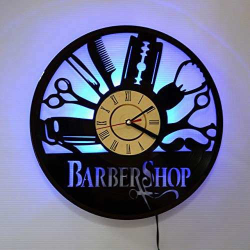 Clock Table Classic Lamp - Barber Shop Hairdresser LED Backlight Vinyl Wall Clock Night Atmosphere Light Lamp Creative Classic Cool Living Room Interior Decor Led Time Clock With Color Blue Light