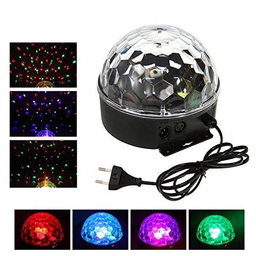 Tera LED Projecteur avec 6 couleurs/Boule cristale magique de lumière avec contrôle auto & voix pour l'ambiance de Fête/Soirée/Gala/Party/DJ/Disco/Scène/KTV/Bar/ Club