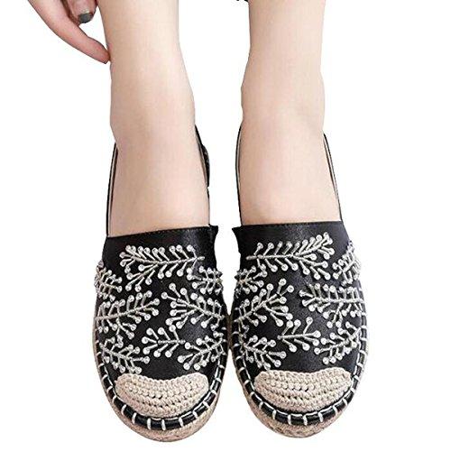 Våren Höst Slät Tyg Hampa Lapptäcke Mode Rhinstone Loafers För Kvinnor Skor Svarta
