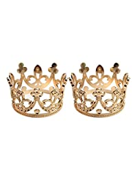 MagiDeal 2pcs Baroque Wedding Mini Flower Girls Rhinestone Crown Tiara Headwear Gold