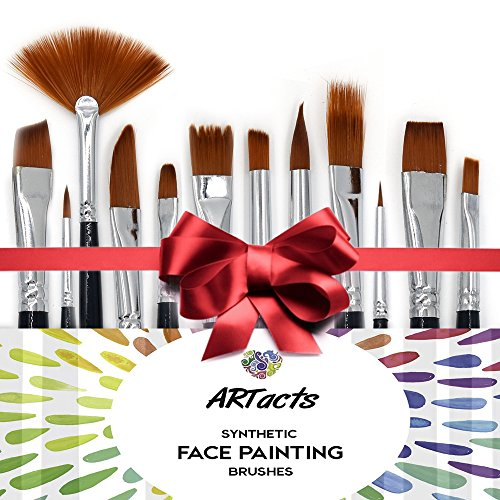 Art Paint Brush Set for Watercolor, Acrylics, Oil & Face Painting - by ARTacts--A Set of 12 Premium Quality Brushes Also Great for Kids (Diamond Paint compare prices)