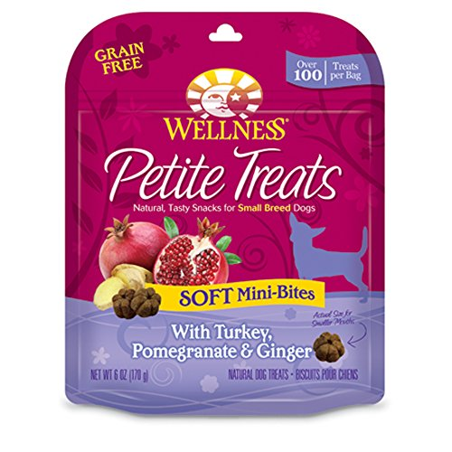 Wellness Petite Treats Small Breed Soft Natural Grain Free Dog Treats, Turkey & Pomegranate, 6-Ounce Bag