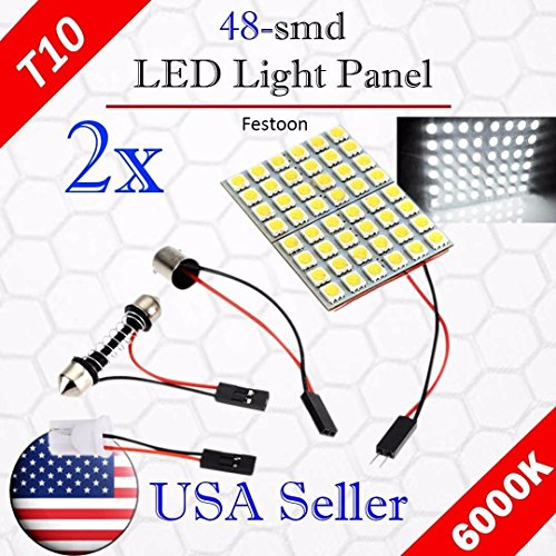 - VITO 2x T10 48-SMD LED Panel Dome Light Auto Car Interior Map Reading Plate Light Roof Ceiling Interior Wired Lamp + T10 BA9S Festoon Adapter