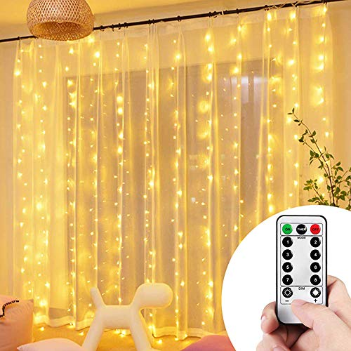 VIPMOON Curtain String Lights 300LED, 9.8ftx9.8ft Waterproof Warm White USB Powered Fairy Lights String 8 Modes Window Twinkle Starry Lights with RF Remote for Wedding Parties Wall Bedroom Decorations