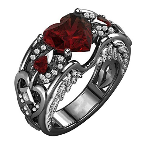 Aniywn Hot Sale! Silver Natural Heart-Shaped Ruby Gemstones Birthstone Bride Wedding Engagement Heart Ring (10#, Red 3) (Ring Flowers Garnet)