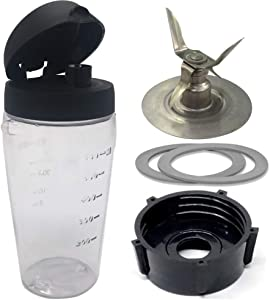 Joystar Ice Crusher blade with bottle cup and lid for Oster Blender Blend-N-Go Smoothie blender,Oster Classic Series Blender and Oster Master Series Pre-Programmed Blender (3, PETG+4 FINS SS blade)