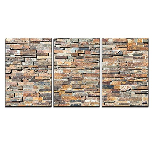 wall26 - 3 Piece Canvas Wall Art - Decor Natural Stone Wall Textere - Modern Home Decor Stretched and Framed Ready to Hang - 16