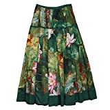 Aivtalk National Style Floral Pattern Elastic Waist Women Long Skirt Dress