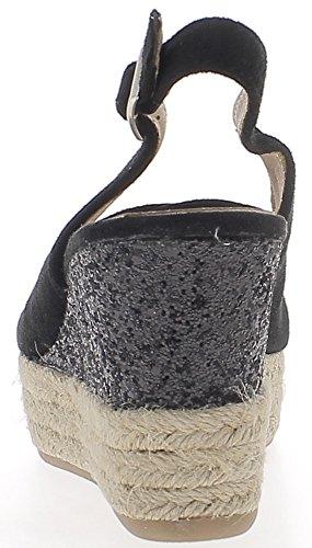 Espadrilles compensées noires à talons de 8,5 cm et plateau de 3 cm