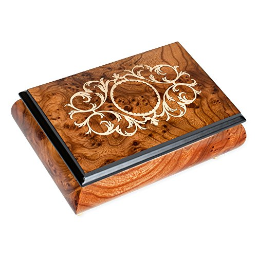 Arabesque Matte Italian Hand Crafted Inlaid Elm Wood Musical Box Plays Tune Somewhere in Time