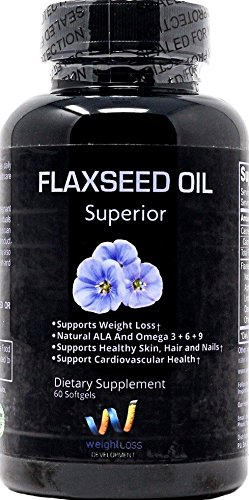 FLAXSEED OIL GELS Capsules Omega 3 ALA Fatty Acid Supplements 1000 mg - Organic, Non GMO, Virgin Cold-pressed Softgels for Natural Weight Loss Management - 100 pills (Benefits Of Flaxseed Oil Capsules Weight Loss)