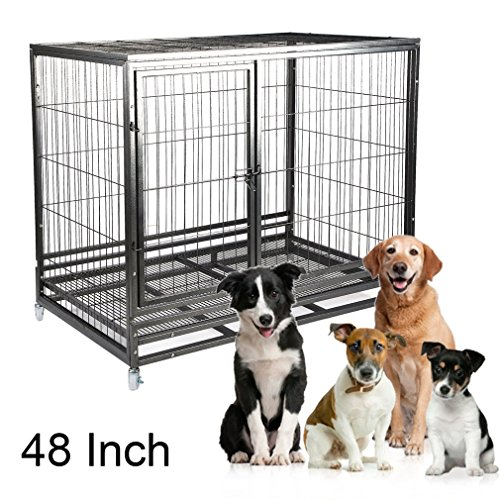 Homgrace Heavy Duty Strong Metal Pet Dog Cage, 48'' Pet Kennel Crate Playpen with Wheels Pet House (black 2) (Dog Cage 48')