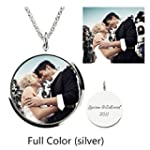 Personalized Photo Necklace Customize Pendant Portrait Necklace Dog Tag Memorial Jewelry Christmas Gift Siver Round2 Full Color 16