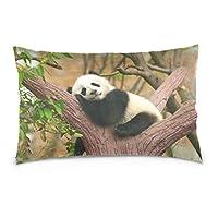 Cooper girl Sleeping Panda Baby Pillow Case Sofa Bed Throw Pillow Cover Cotton Zipper 20x30 Inch
