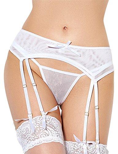 Oliveya Womens Plus Size 2 Piece Stretch Satin and Mesh Garter Belt (White, (Satin Mesh Thigh Highs)