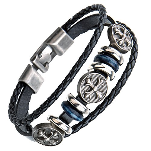 Handmade Punk bracelet for Man – Retro Genuine Leather Cuff Wrap Bracelet (Blue 3 Cross)