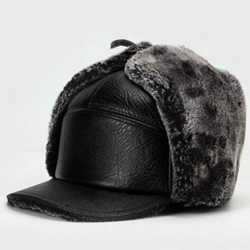e8059a372a3 Amazon.com  Dunnomart Leather Winter Fur Hats Windproof Thick Warm Fur  Inside Dad s Gift Cap Old Men s Ushanka hat Male Russian Earflap hat   Kitchen   ...