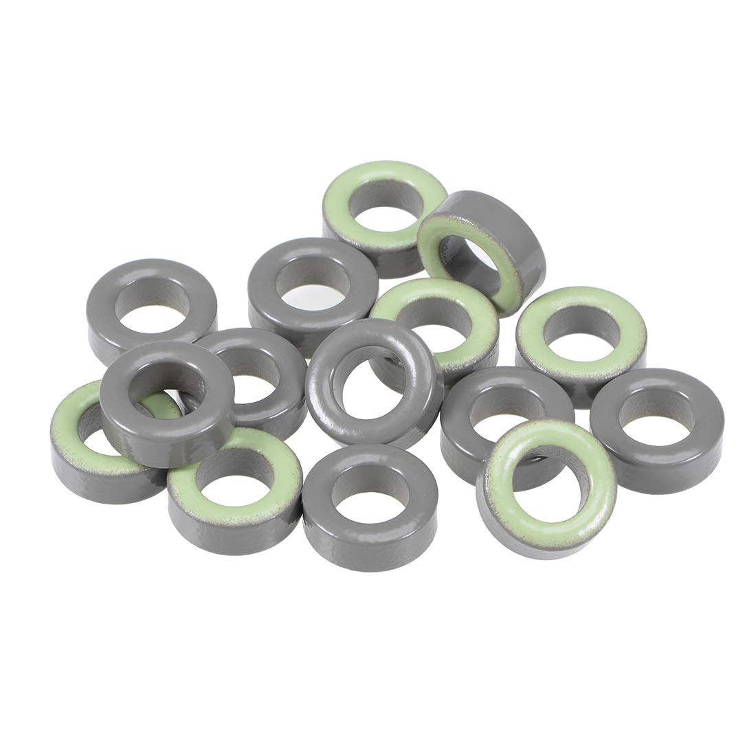 uxcell 15pcs 7.4 x 13.3 x 5mm Ferrite Ring Iron Powder Toroid Cores Gray Light Green