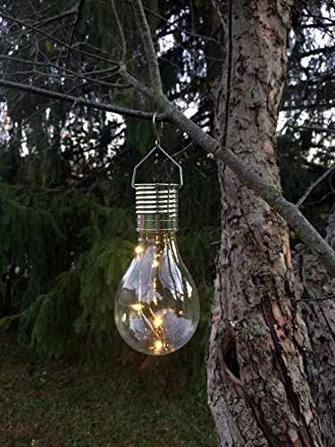 Hanging Solar Light Bulb with S Hook, by Industrial Rewind