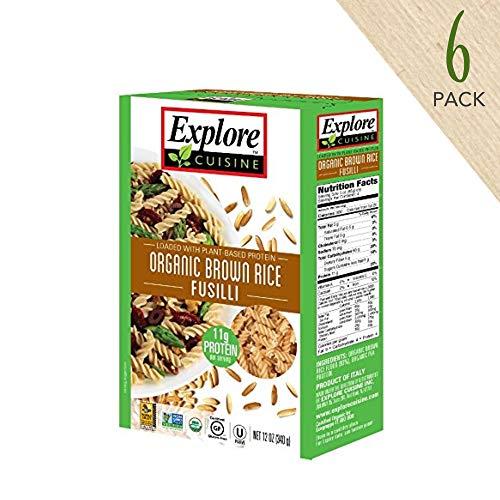 Explore Cuisine Organic Brown Rice Fusilli (6 Pack) - 12 oz - High Protein, Gluten Free Pasta, Easy to Make - USDA Certified Organic, Vegan, Kosher, Non GMO - 24 - Brown Rice Pasta Organic