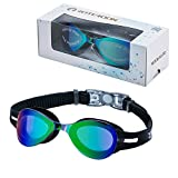 ROTERDON Swim Goggles, Anti Fog UV Protection No Leaking Swimming Goggles for Men Women Adult Youth Kids (Black 7001)