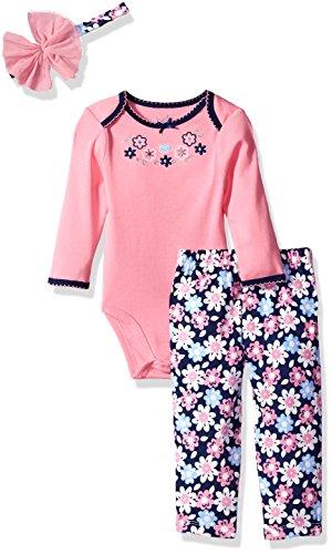 Best Beginnings Baby Girls' Printed Bodysuit Pant Set, Pink Floral, 3M