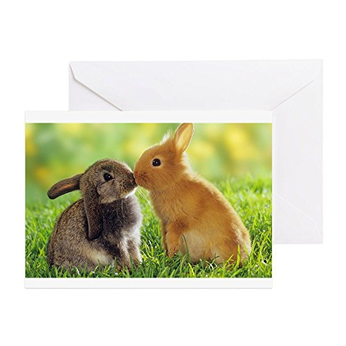 CafePress Love Bunnies Greeting Card, Note Card, Birthday Card, Blank Inside Matte