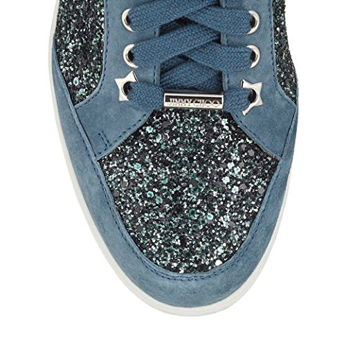Glitter Choo Miami Star and Leather Dusk Blue Sneakers Jimmy wXOqxACzA