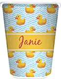 RNK Shops Rubber Duckie Waste Basket - Single Sided (White) (Personalized)
