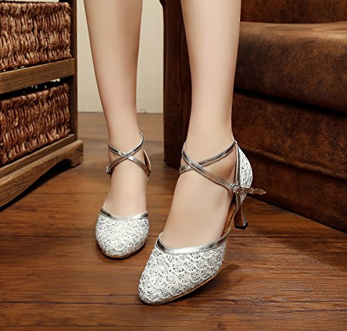 Minishion Dance Shoes Tango Heel Chunky Pumps TQJ7069 Glitter Womens Ballroom Latin Silver Low 4qprSC4nxw
