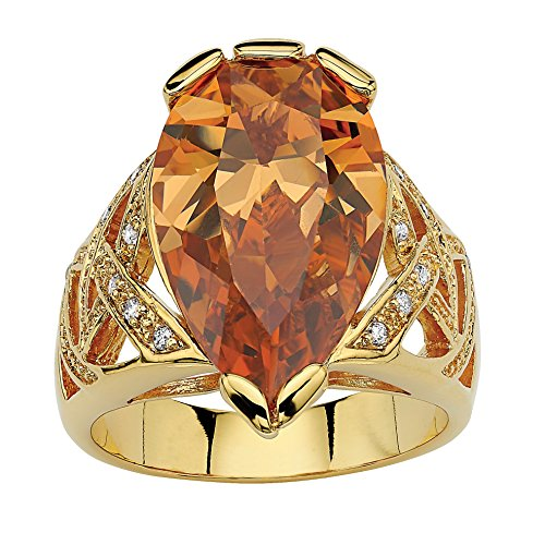 Palm Beach Jewelry 18K Yellow Gold Plated Pear Cut Champagne Cubic Zirconia Ring