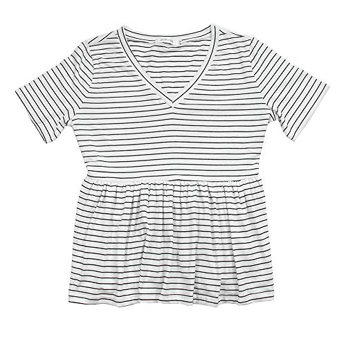 ZURIFFE Women's Summer V Neck Short Sleeve Cotton Loose T Shirts Ruffle Babydoll Peplum Swing Top Tees (L, White Stripe)