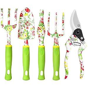 vanow Gardening Tool Set, 5 PCS Heavy Duty Aluminum Gardening Hand Tools Kit, Floral Print Gardening Gifts for Women…