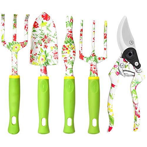 Garden Tool Set, 6 PCS Heavy Duty Aluminum Gardening Hand Tools Kit, Floral Print Gardening Tool Set, Gardening Gifts…