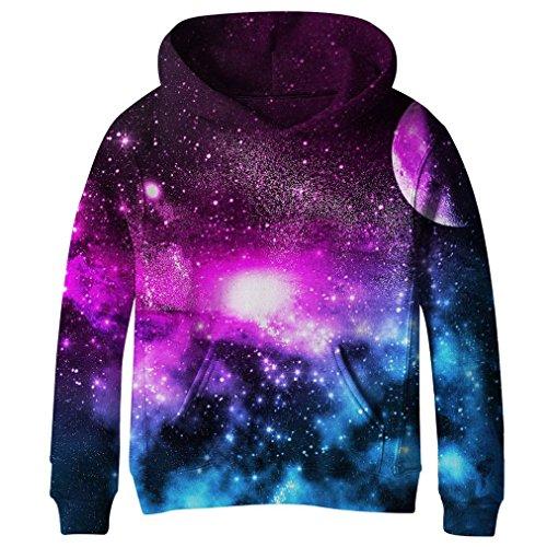 SAYM Big Girls Galaxy Fleece Pockets Sweatshirts Jacket Pullover Hoodies NO15 L