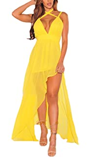 BoBoLily Donna Vestiti Chiffon Lunghi Eleganti Da Cerimonia Estivi Con  Spacco Vestito Impero Da Sera V 234401d8822