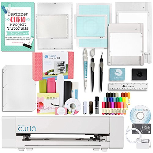 Silhouette America Curio Crafting Machine with Large Base, Vinyl Kit, Tools, and More! by Silhouette America