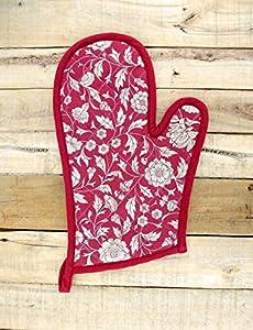 """Indigo Glove Quilted Oven Mitt Floral Print Dark Blue Kitchen Accessory 100% Cotton Size 8""""x13"""""""