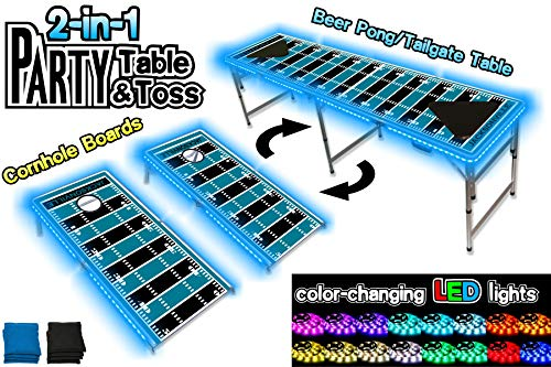 PartyPongTables.com 2-in-1 Jacksonville Football Field with LED Lights 2-in-1 Cornhole Boards & Beer Pong Tailgate Table with Color-Changing LED Glow Lights - Jacksonville Football Field