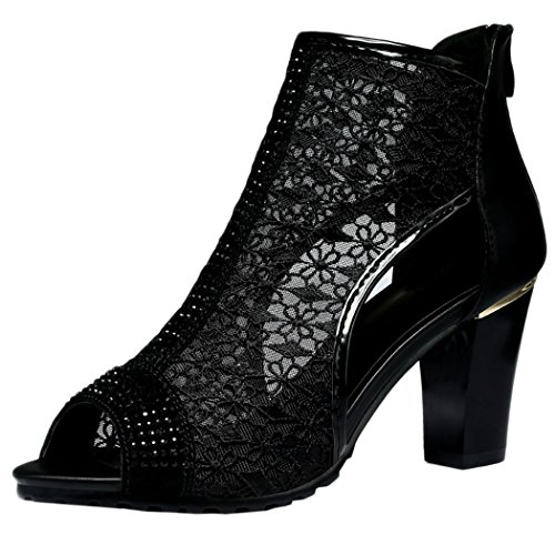 WUXING Women's Thick Mesh Openwork Elegant Fashion Sandals(7 B(M)US, black)