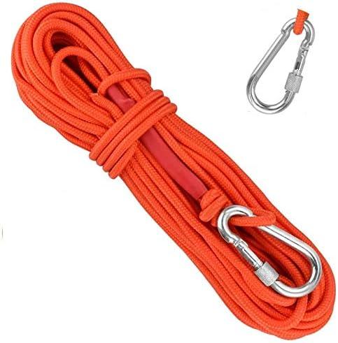 EMAGEREN Cuerda de Escalada 20m*6mm Cuerda Auxiliar de Escalada Cuerda de Pesca con Mosquetón Cuerda para Senderismo Cuerda Multiusos para ...