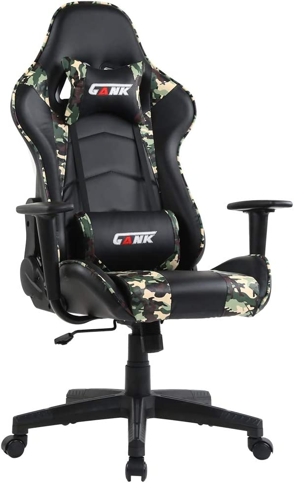 GANK Gaming Chair Racing Office Computer Chair High Back PU Leather Swivel Chair with Adjustable Massage Lumbar Support and Headrest Camouflage
