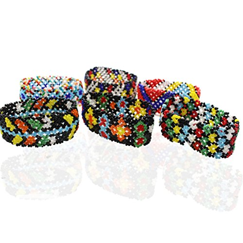(SYGZQ 6 pcs/Lots Friendship Seed Bead Elastic Stretch Bracelets Native American Pattern Hair Accessories)