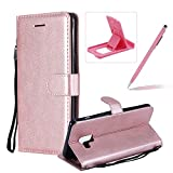 Strap Leather Case for Galaxy A8 Plus 2018,Wallet Flip Cover for Galaxy A8 Plus 2018,Herzzer Stylish Elegant Rose Gold Solid Color Magnetic Folio Smart Stand Cover with Soft TPU