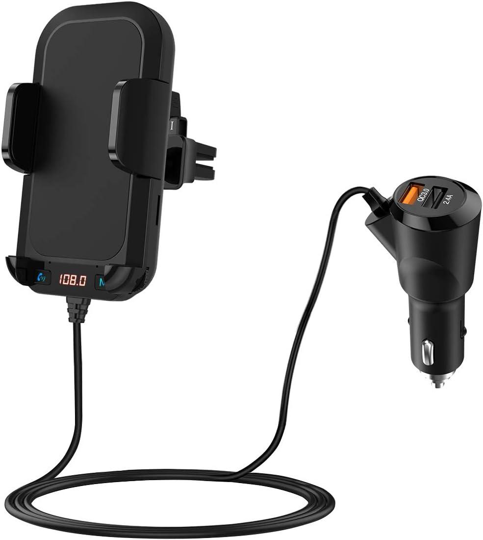 【2020 New】 Geosta Transmisor FM Bluetooth con Soporte, FM Bluetooth 5.0 para Coche, QC3.0 Cargador de Coche con Llamada Manos Libres y 2 Puertos USB, Soporte para Teléfono de 4