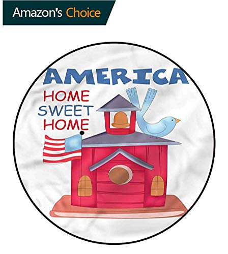 Americana Computer - RUGSMAT Americana Computer Chair Floor Mat,Birdhouse with USA Flag Protect Floors While Securing Rug Making Vacuuming Diameter-63