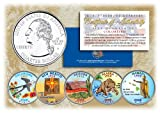 2008 US Statehood Quarters COLORIZED Legal Tender 5-Coin Complete Set w/Capsules by Merrick Mint