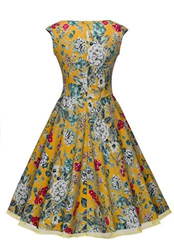 HOMEYEE Damen Sommerkleid 1950er Retro Cocktailkleid Faltenrock  Abendkleider A003 44, Gelb Gelb