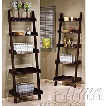 Amazon Com Wales Compact Espresso Finish Leaning Ladder Wall Shelf Kitchen Amp Dining